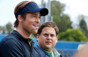 Academy Award nominees Brad Pitt and Jonah Hill in 'Moneyball'