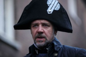 "Russell Crowe stars as Captain Crunch in ""les Miserables""."