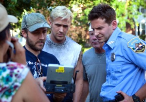 Cianfrance, Ryan Gosling, and Bradley Cooper on the set of 'The Place Beyond the Pines'.
