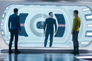 Spock (Zachary Quinto) and Captain Kirk (Chris Pine) interrogate John Harrison (Benedict Cumberbatch) in 'Star Trek Into Darkness'.