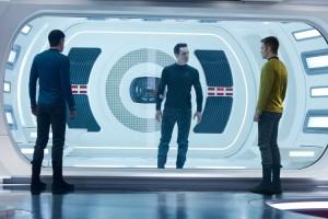 Spock (Zachary Quinto) and Captain Kirk (Chris Pine) interrogate John Harrison (Benedict Cumberbatch) in 'Star Trek Into Darkness'.