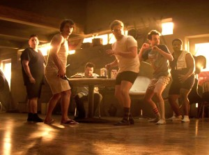 """(l to r): Jonah Hill, James Franco, Danny McBride, Seth Rogen, Dave Baruchel, and Craig Robinson vs. the Apocalypse in """"This is the End""""."""