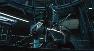 "Logan (Jackman) crosses blades with the ""Silver Samurai""."