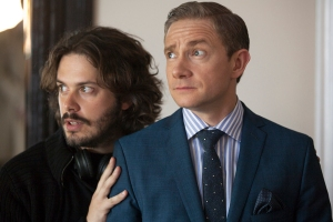 Edgar Wright (left) on the set with Martin Freeman.